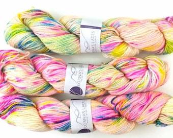 Lorna's Laces, Shepherd Worsted, colorway Zoe, Aran weight superwash merino wool knitting yarn, splatter neons