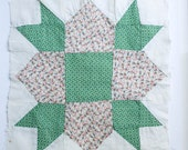 """Antique Quilt Fabric, 12"""" Square, Quilt Top, Wall Decor, Farmhouse Style, Pillow Top Fabric"""