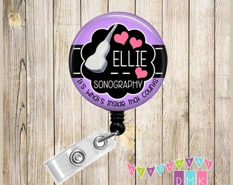 Personalized - Inside That Counts - Sonography - Purple - Button Badge Reel - Retractable ID Holder - Alligator or Slide Clip - Gift