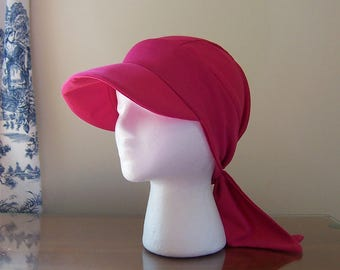 Baseball Style Chemotherapy Cap with Ties in Pink Knit for Women, Soft and Comfortable for Summer, Chemo Patient Gift Ready to Ship