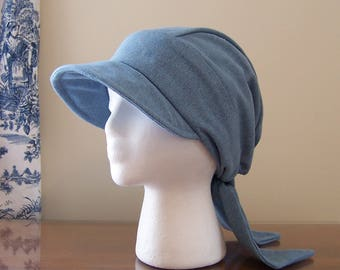 Baseball Style Chemo Cap with Ties in Denim for Women, Easy to Wear, Unlined Chemotherapy Hat, Ready to Ship, Cancer Patient Gift
