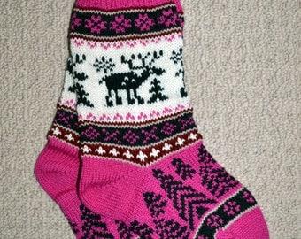 Wool Socks, Norwegian Scandinavian folk art, hand crafted 100% Wool, Fair Isle Reindeer, size   Medium