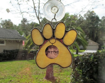 "Stained Glass Paw Print ""Paws To Remember"" - Light Amber Opal Stained Glass Suncatcher or Memorial Marker - Unique - Medium size"