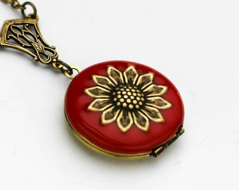 Red Enamel Locket - Sunflower Necklace - Enamel Locket - Antique Brass