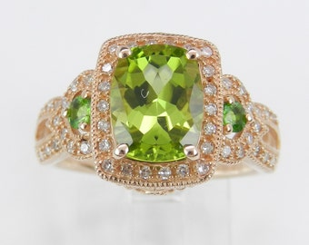 Diamond and Peridot Halo Engagement Ring Promise Ring Three Stone Rose Gold Size 7 August Gemstone
