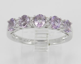 Amethyst and Diamond Wedding Ring Anniversary Band White Gold Size 7.25