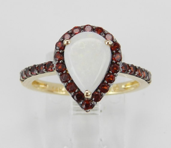 14K Yellow Gold Garnet and Opal Halo Engagement Ring Pear Promise Size 7