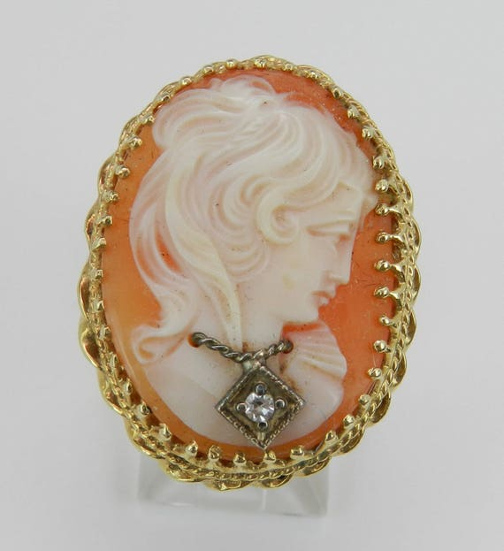 Antique Cameo and Diamond Cocktail Statement Ring Vintage 14K Yellow Gold Size 5.5
