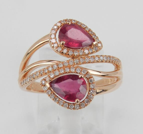 14K Rose Gold 2.10 ct Diamond and Ruby Cocktail Bypass Ring Size 6.75 July Birthstone