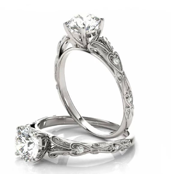 14K Gold Diamond Engagement Ring Setting Heart Accents Semi-Mount Mounting