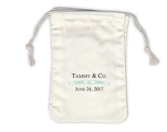 Bride and Co Cotton Favor Bags for Bridal Shower Birthday Party in Black & Robins Egg Blue - Ivory Fabric Drawstring Bags - Set of 12 (1007)