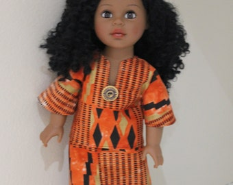 Lovely ethnic outfit with hat for 18 inch doll