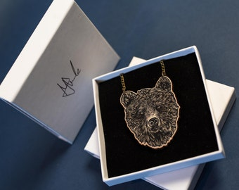 Bear necklace bear jewellery charm illustrated accessories