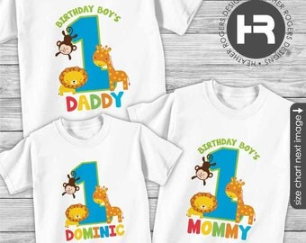 Zoo Birthday Shirts - FOR ANY AGE - Fun to be One Birthday Shirt or Bodysuit - with matching Birthday Boy's Mommy Shirt & Daddy shirt