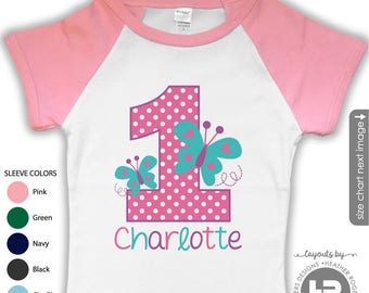 Butterfly 1st Birthday Shirt (Pink/Teal/Purple Design) - Pink Sleeve Raglan Shirt - First Butterfly Shirt  Spring Butterfly Birthday Party