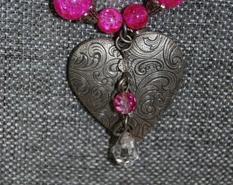 Pink Heart Locket Necklace