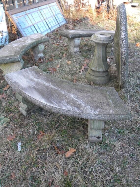 vintage 1960s heavy duty concrete cement patio set table bench