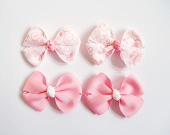 Pink Mini Hair Bows - Spring Vines One Size Nylon Headbands - Small Pig Tail Bow Set Grosgrain Hair Clips