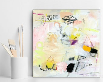 "White painting with yellow and pink modern painting Original Art, small Abstract Art pastel art ""Playing Again 2"" by Duealberi"