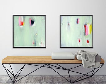 Set of two Giclee Prints from Abstract Paintings. Mint green, contemporary art, bathroom decor,  modern painting. Geometric 8x8 or 12x12.