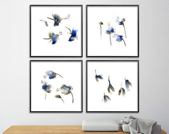 Blue Flower Watercolor Print Set Abstract Botanicals 8x8 gift for her art for bedroom maple seeds sister best friend