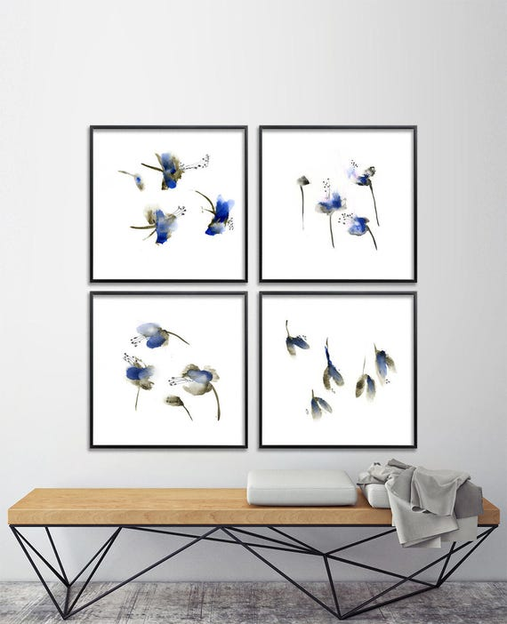 Items similar to blue flower watercolor print set abstract for Bedroom gifts for her