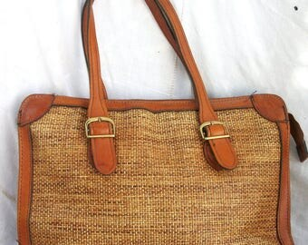 Leather Trim and Woven Grass ~ 1970's era ~ Vintage Purse / Attache Style ~ Metal Hardware