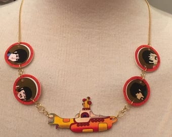 Gold Plated Handmade Beatles Yellow Submarine Necklace