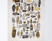 Morels Tea Towel - Gold