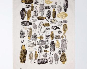 Morels Tea Towel - Gold