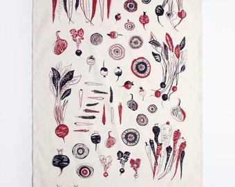 Root Vegetable Tea Towel - Beet