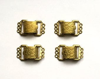 Vintage Fold Over Clasps, Vintage Floral Brass, Triple Hole Clasps, Jewelry Making, Antique Brass, 28 x 16mm, B'sue Boutiques, Item01096