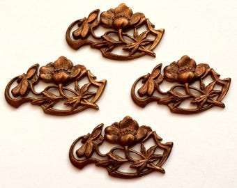 Vintage Floral Leaf Swag, French Floral Swag, Art Nouveau, Vintage Supplies, Gingerbread Patina, 35 x 21mm, B'sue Boutiques, Item02057