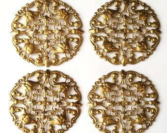 Brass Filigree, 4 Pieces, Beading Filigrees, Floral Design, Jewelry Parts, Jewelry Making, Raw Brass, Us Made,49mm,B'sue Boutiques,Item02270