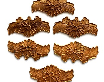 Vintage Floral Stampings, 6 Piece, Floral Bracelet Bar, Vintage Jewelry Supplies, Jewelry Making, Patina Brass, 19 x 40, B'sue, Item02562