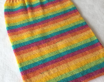 Rainbow Kicking Bag - Handknit
