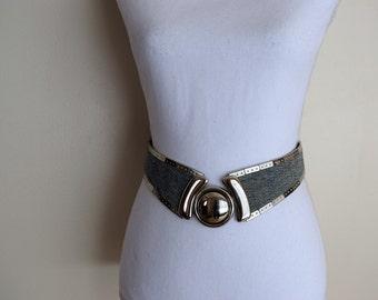 salvation armani vintage funky acid washed denim and silver - retro belt - 1980's belt - retro style - vintage belt - womens belt