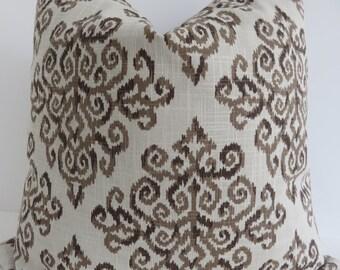 Beige Linen Pillow Cover, Beige Pillow Cover, Printed Linen fabric, Accent Pillow Cover, Beige Brown Pillow, Brown Pillow Cover