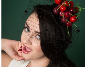 Petite Pile of Cherries Fascinator