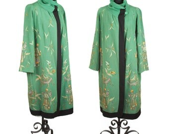 1920s Coat // Oriental Gold Embroidered Art Deco Jacket