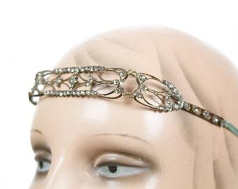 1920's Headpiece // Rhinestone Flapper Metal Headband Tiara