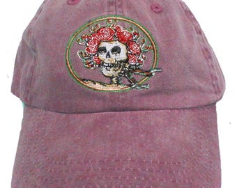 Skull and Roses Embroidered Baseball Cap- Maroon