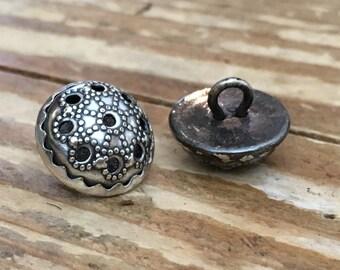 12 Silver Trachten Vintage Buttons