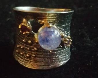 Vintage Sterling silver & Gold Artist Made Ring