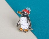 Penguin Enamel Pin Badge  Birds in Hats Gentoo Penguin in a Bobble Hat Pin Badge Lapel Badge Hat Pin Bird Pin Penguin Pin
