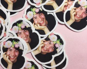 Little Flower Crown Keanu vinyl sticker set