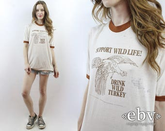 Vintage T Shirt Vintage Tee Wild Turkey Tee Whiskey Tee Soft Thin Vintage Shirt Ringer Tee 70s T Shirt 1970s T Shirt Wild Turkey 101 XL