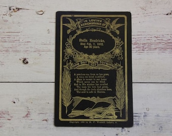 Antique In Loving Remembrance 1912 Funeral Death Card Cabinet Memorial Gothic Decor Victorian Black and Gold H. F. Wendell #39