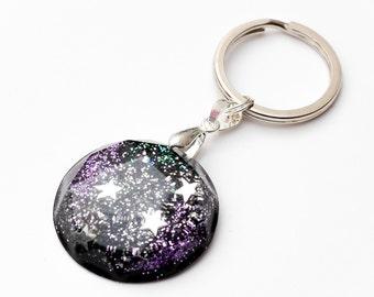 Galaxy Gem keychain - space keychain, nebula keyring, galaxy keyring, space jewelry, star jewellery, stars, art jewelry, star keychain