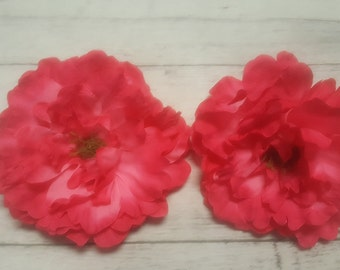 6 HOT PINK Silk Peony heads - Artificial Flower - 6.5 inches - Wholesale Lot - for Wedding, Hair clips, Headbands, Hats